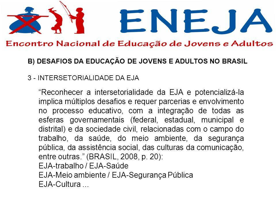 B) DESAFIOS DA EDUCAÇÃO DE JOVENS E ADULTOS NO BRASIL 3 - INTERSETORIALIDADE DA EJA Reconhecer a intersetorialidade da EJA e potencializá-la implica m