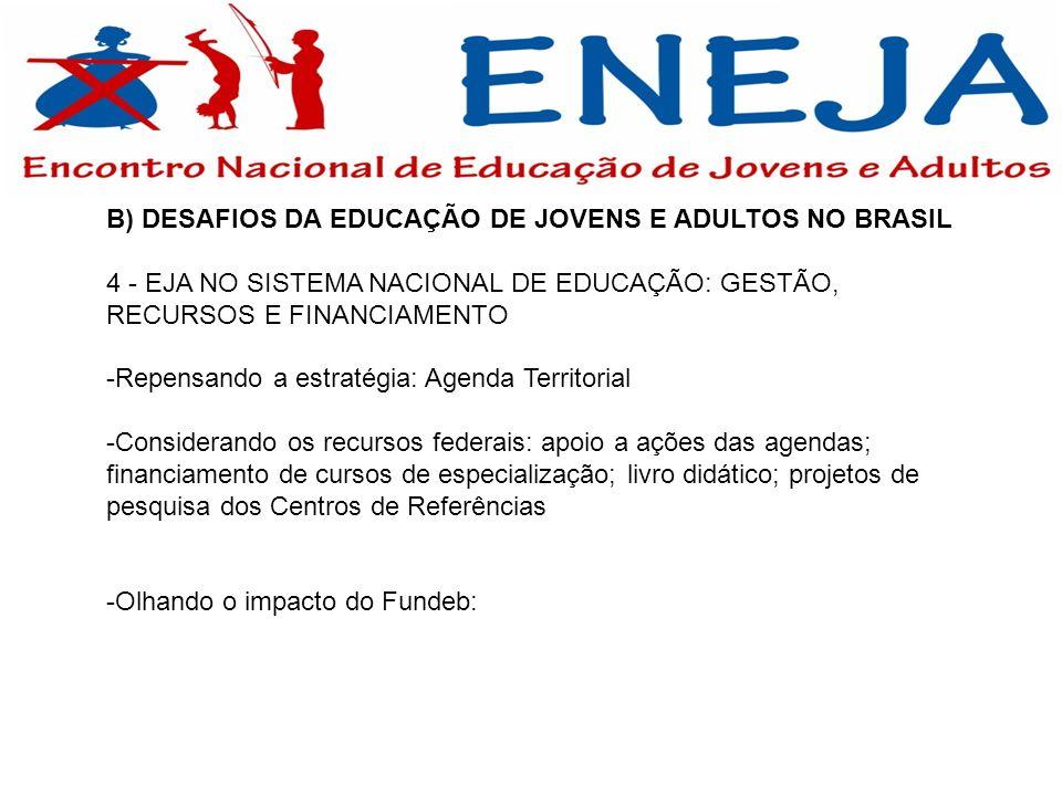 B) DESAFIOS DA EDUCAÇÃO DE JOVENS E ADULTOS NO BRASIL 4 - EJA NO SISTEMA NACIONAL DE EDUCAÇÃO: GESTÃO, RECURSOS E FINANCIAMENTO -Repensando a estratég