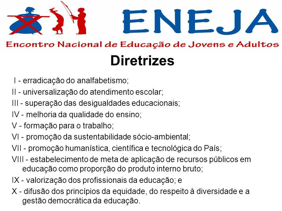 Diretrizes I - erradicação do analfabetismo; II - universalização do atendimento escolar; III - superação das desigualdades educacionais; IV - melhori