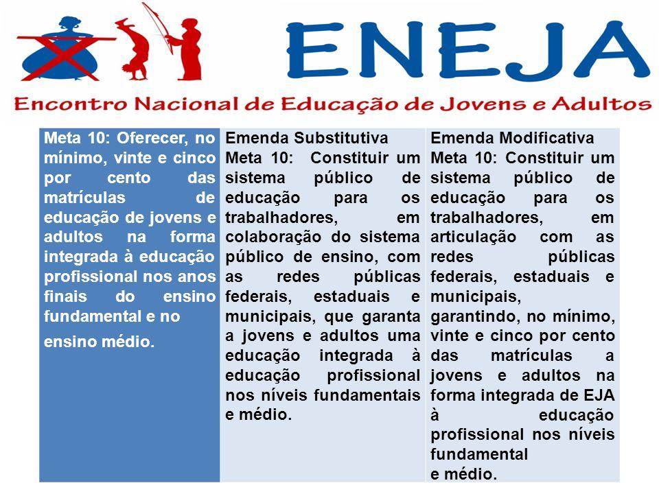 Meta 10: Oferecer, no mínimo, vinte e cinco por cento das matrículas de educação de jovens e adultos na forma integrada à educação profissional nos an