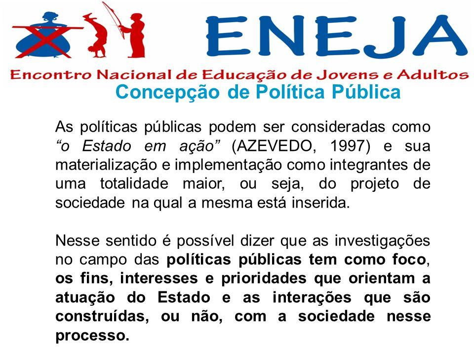 As políticas públicas podem ser consideradas como o Estado em ação (AZEVEDO, 1997) e sua materialização e implementação como integrantes de uma totali