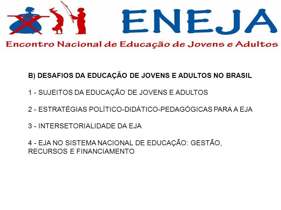 B) DESAFIOS DA EDUCAÇÃO DE JOVENS E ADULTOS NO BRASIL 1 - SUJEITOS DA EDUCAÇÃO DE JOVENS E ADULTOS 2 - ESTRATÉGIAS POLÍTICO-DIDÁTICO-PEDAGÓGICAS PARA