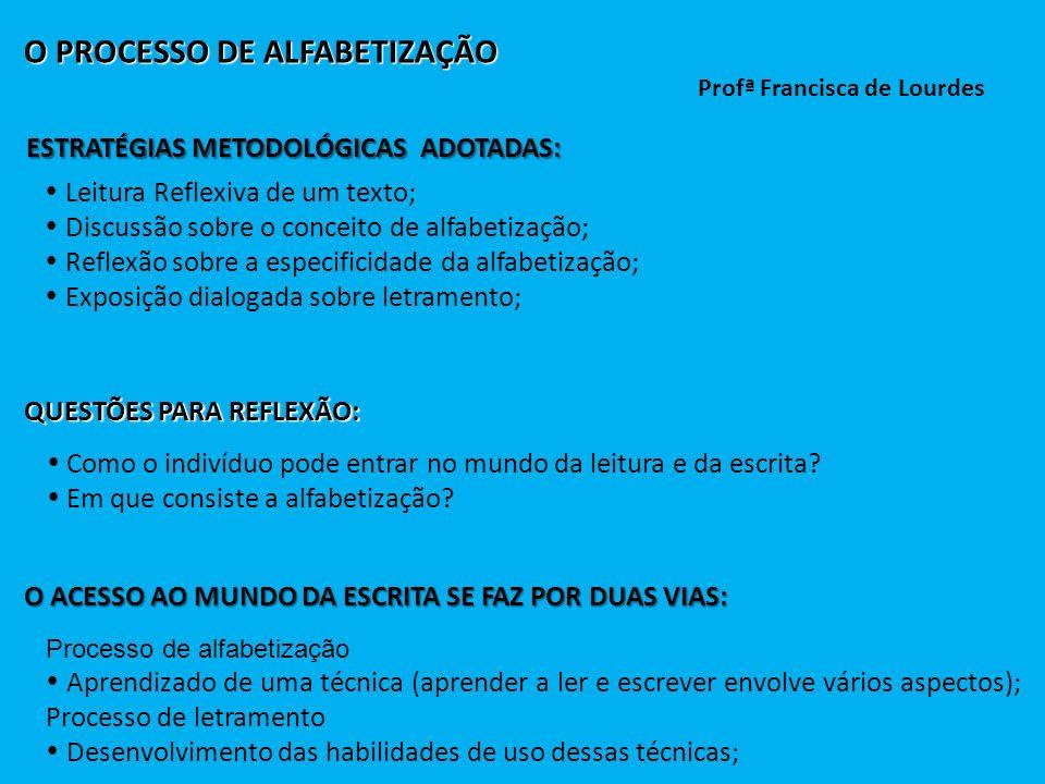 O PROCESSO DE ALFABETIZAÇÃO Profª Francisca de Lourdes ESTRATÉGIAS METODOLÓGICAS ADOTADAS: Leitura Reflexiva de um texto; Discussão sobre o conceito d