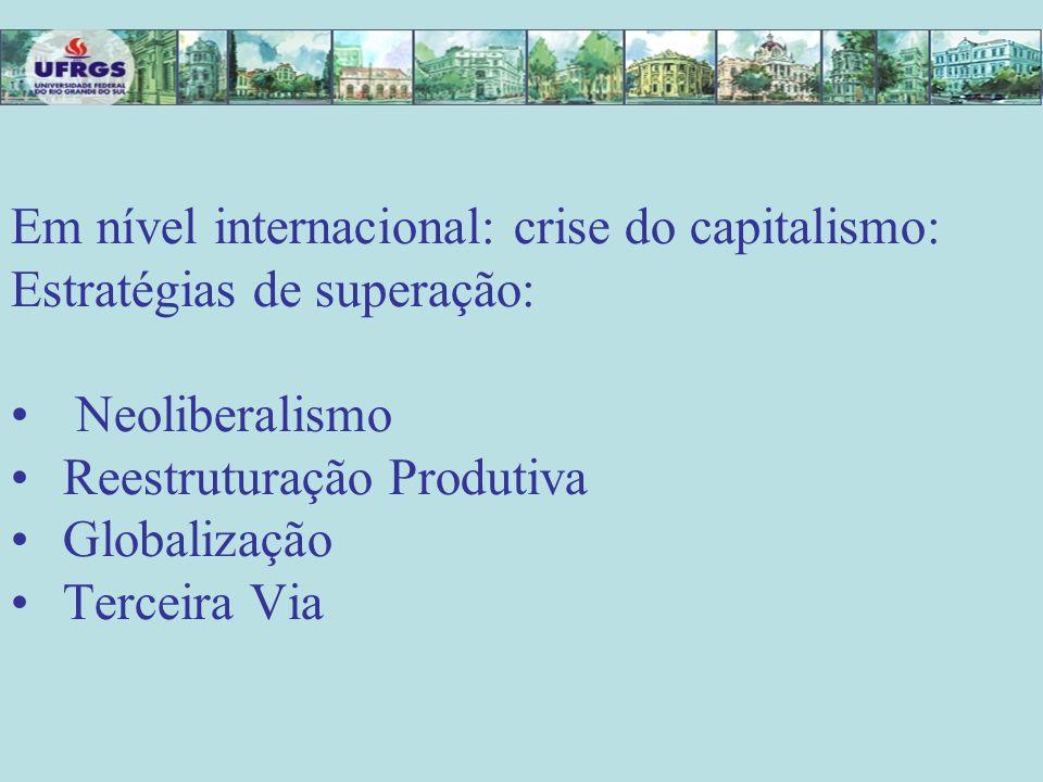 REDEFINIÇÃO DO PAPEL DO ESTADO -diagnóstico da crise pelo neoliberalismo: crise do Estado e não do capitalismo -crise fiscal : o Estado gastou muito para implementar POLÍTICAS SOCIAIS
