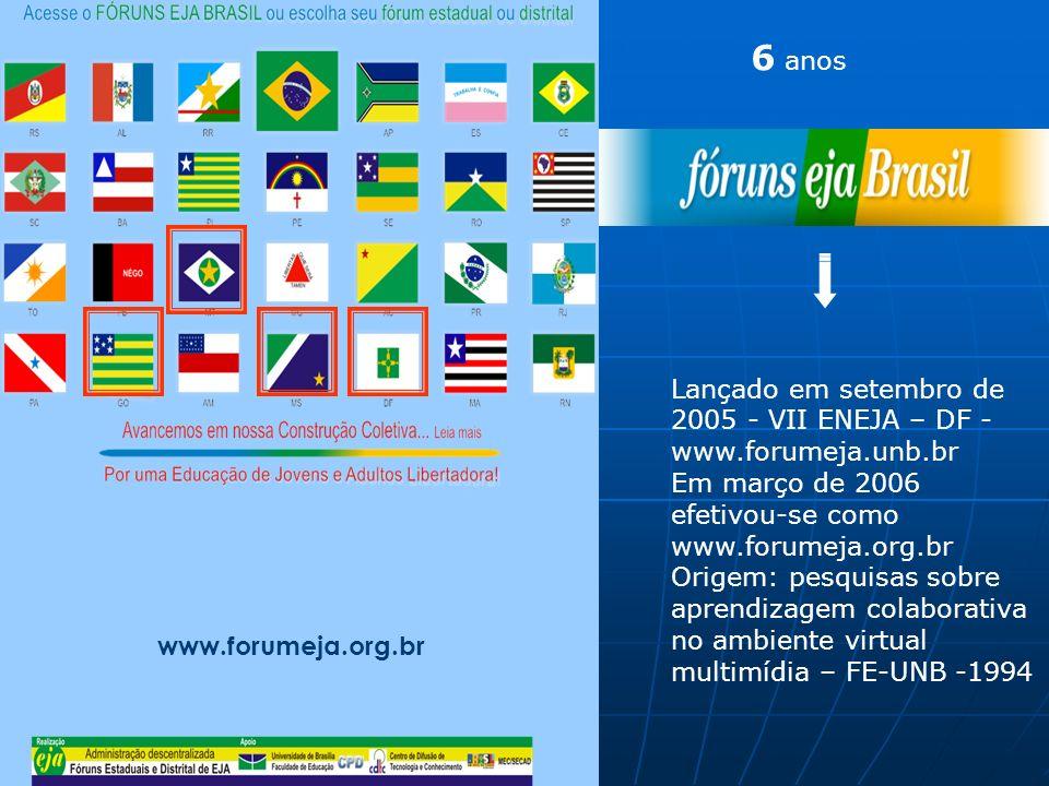 Portal dos Fóruns de EJA www.forumeja.org.br Lançado em setembro de 2005 - VII ENEJA – DF - www.forumeja.unb.br Em março de 2006 efetivou-se como www.