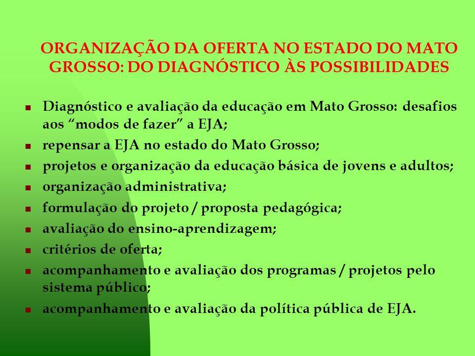 ORGANIZAÇÃO DA OFERTA NO ESTADO DO MATO GROSSO: DO DIAGNÓSTICO ÀS POSSIBILIDADES Diagnóstico e avaliação da educação em Mato Grosso: desafios aos modo