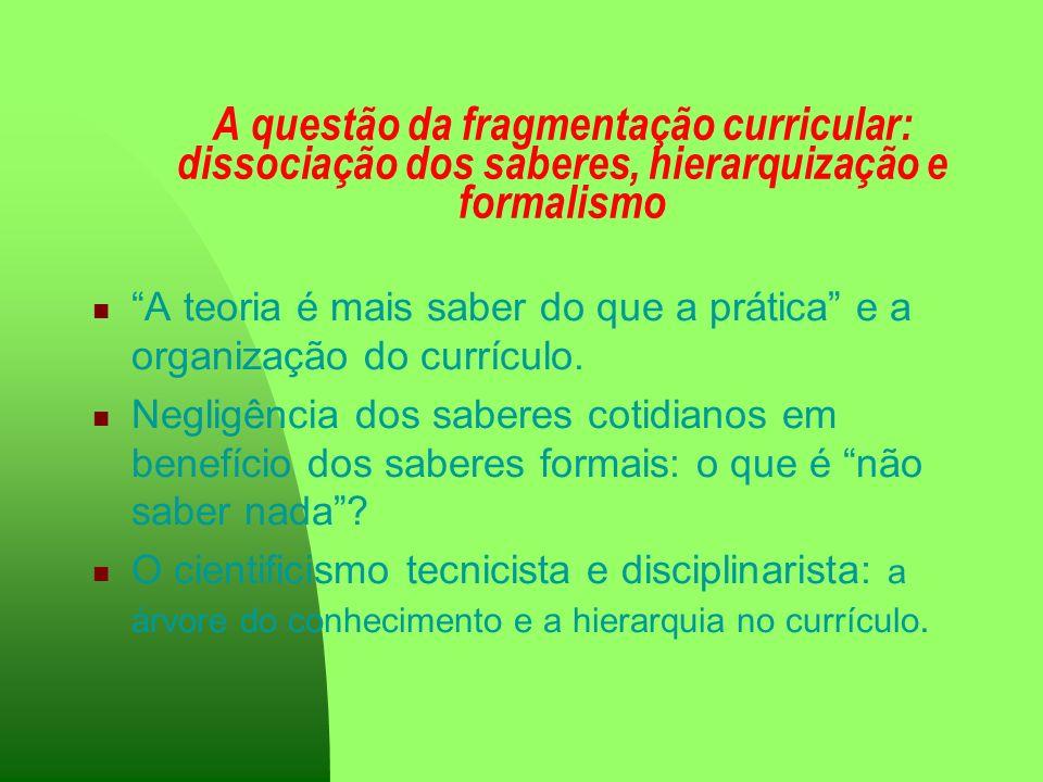 A questão da fragmentação curricular: dissociação dos saberes, hierarquização e formalismo A teoria é mais saber do que a prática e a organização do c