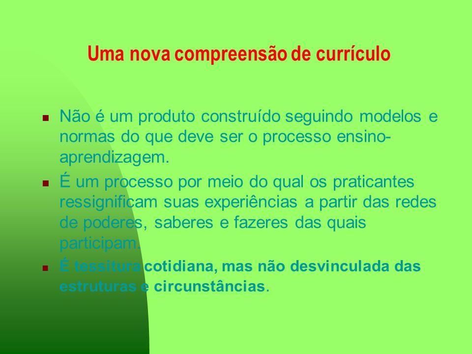 Uma nova compreensão de currículo Não é um produto construído seguindo modelos e normas do que deve ser o processo ensino- aprendizagem. É um processo
