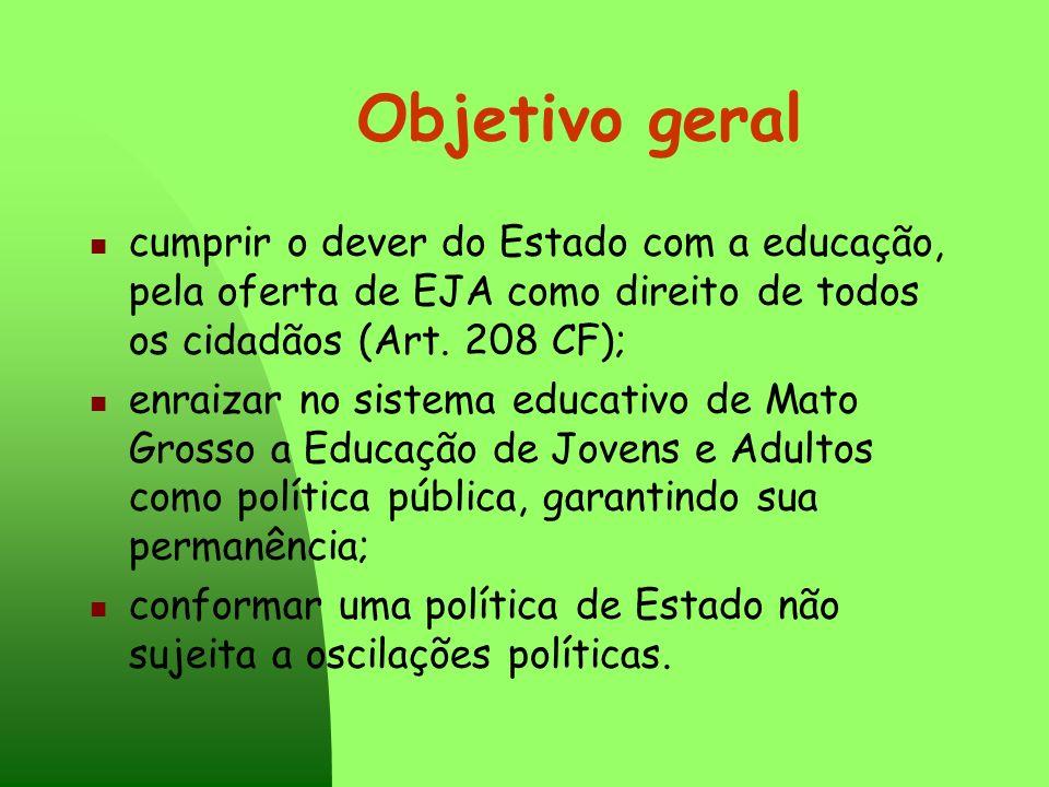 Objetivo geral cumprir o dever do Estado com a educação, pela oferta de EJA como direito de todos os cidadãos (Art. 208 CF); enraizar no sistema educa