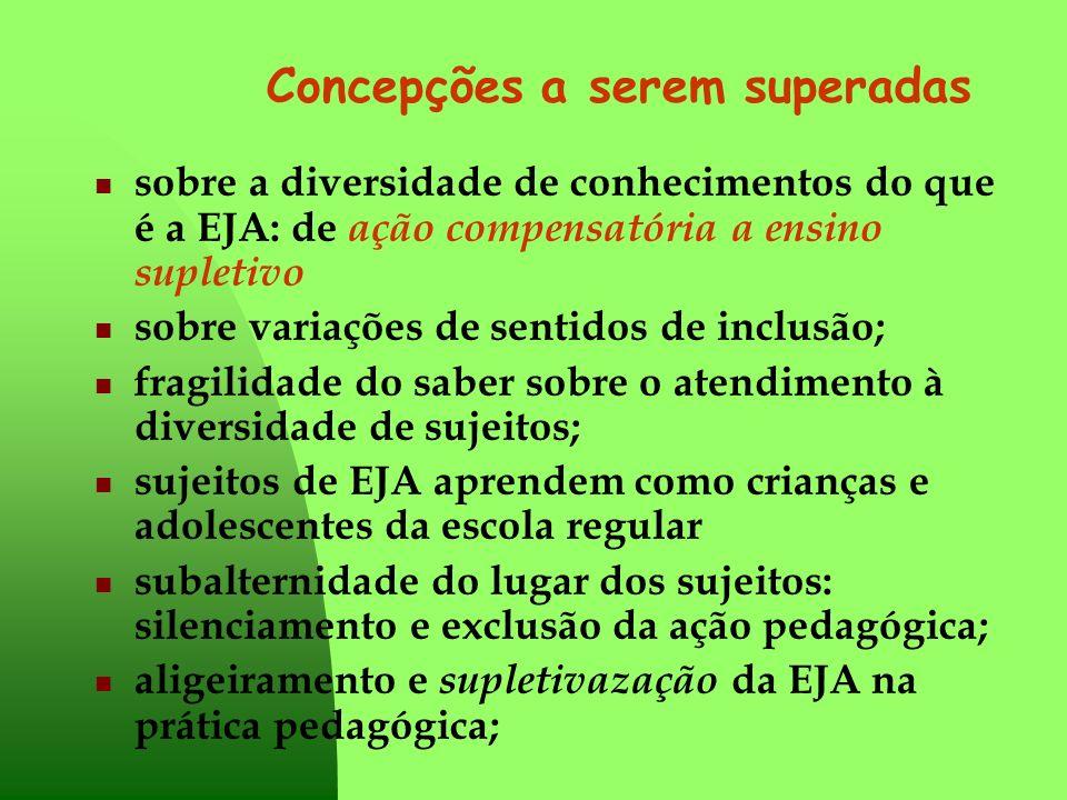 Concepções a serem superadas sobre a diversidade de conhecimentos do que é a EJA: de ação compensatória a ensino supletivo sobre variações de sentidos