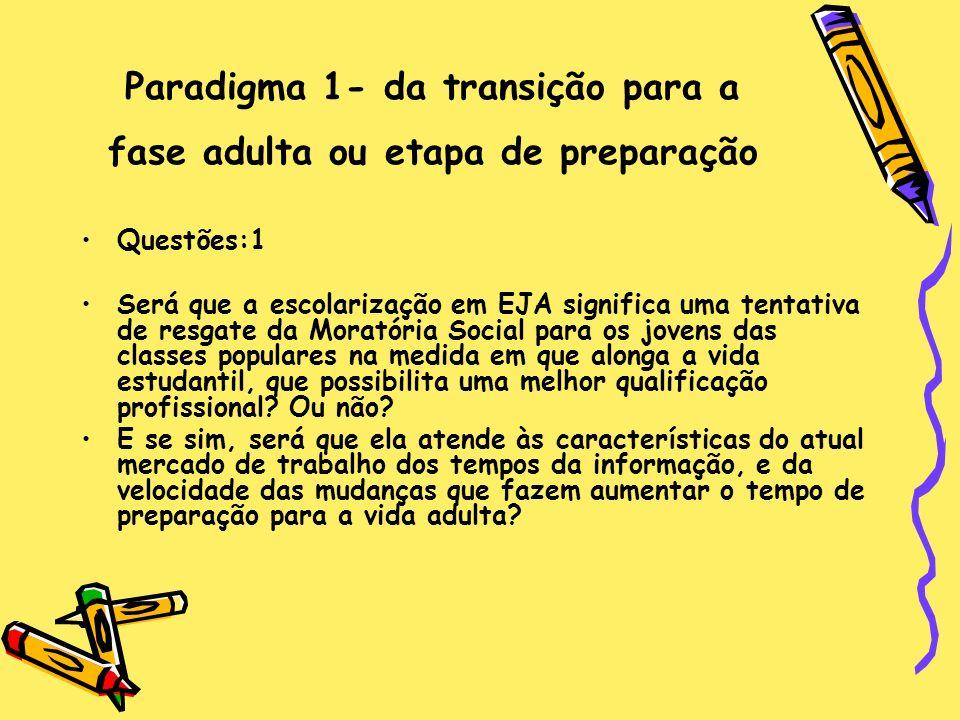 Paradigma 1- da transição para a fase adulta ou etapa de preparação Questões:1 Será que a escolarização em EJA significa uma tentativa de resgate da M