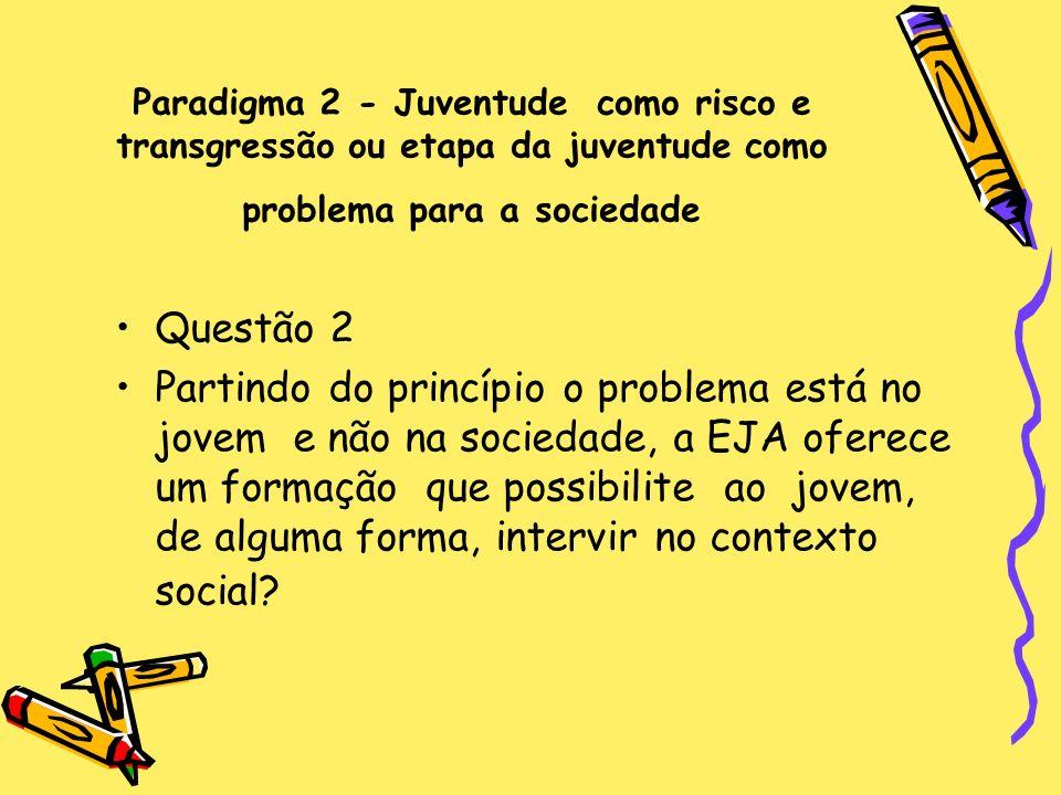 Paradigma 2 - Juventude como risco e transgressão ou etapa da juventude como problema para a sociedade Questão 2 Partindo do princípio o problema está