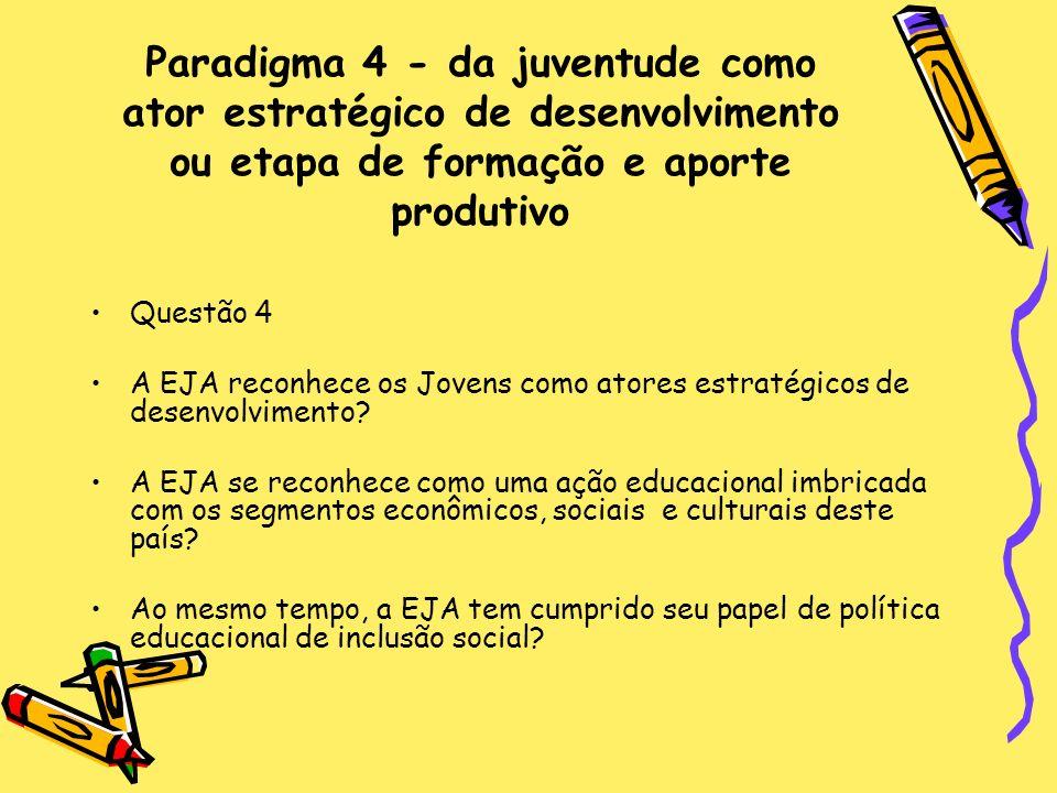 Paradigma 4 - da juventude como ator estratégico de desenvolvimento ou etapa de formação e aporte produtivo Questão 4 A EJA reconhece os Jovens como a