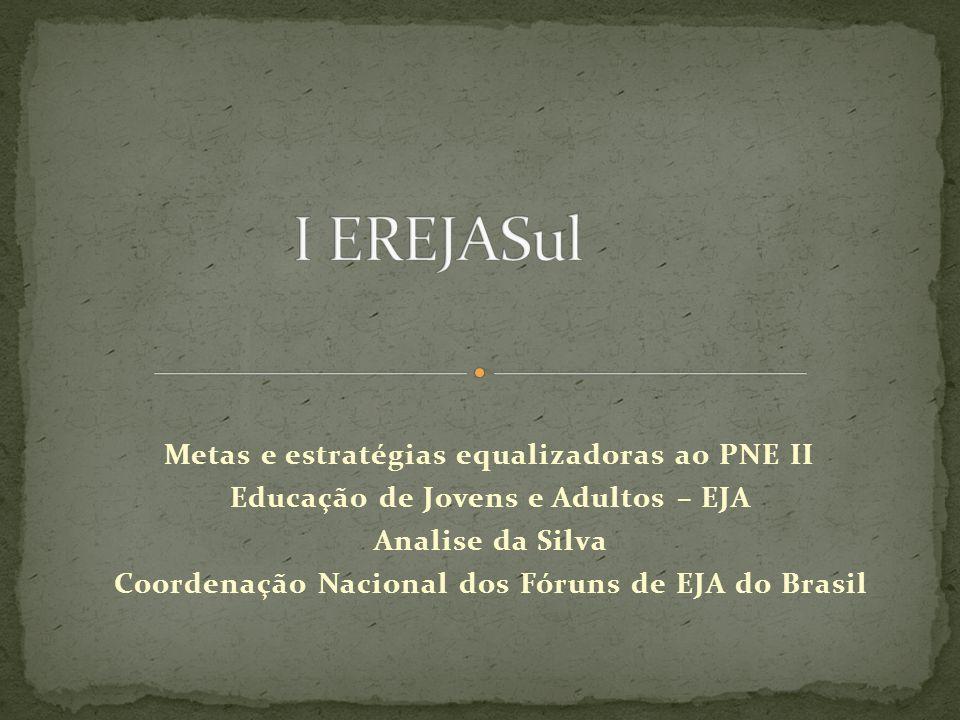 Metas e estratégias equalizadoras ao PNE II Educação de Jovens e Adultos – EJA Analise da Silva Coordenação Nacional dos Fóruns de EJA do Brasil