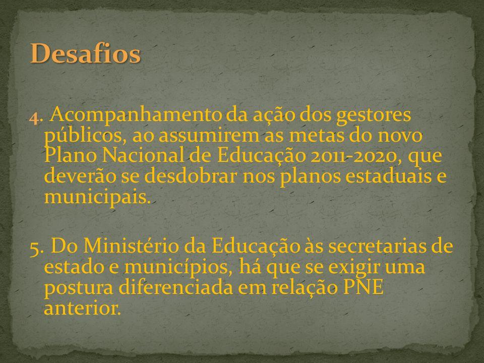 4. Acompanhamento da ação dos gestores públicos, ao assumirem as metas do novo Plano Nacional de Educação 2011-2020, que deverão se desdobrar nos plan