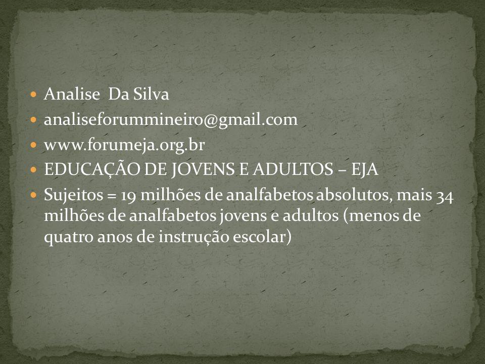 Analise Da Silva analiseforummineiro@gmail.com www.forumeja.org.br EDUCAÇÃO DE JOVENS E ADULTOS – EJA Sujeitos = 19 milhões de analfabetos absolutos,