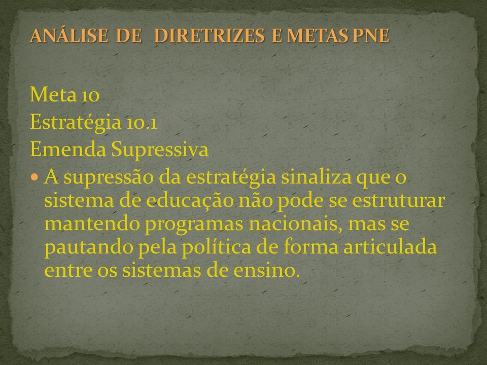 Meta 10 Estratégia 10.1 Emenda Supressiva A supressão da estratégia sinaliza que o sistema de educação não pode se estruturar mantendo programas nacio