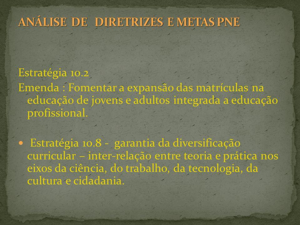 Estratégia 10.2 Emenda : Fomentar a expansão das matrículas na educação de jovens e adultos integrada a educação profissional. Estratégia 10.8 - garan