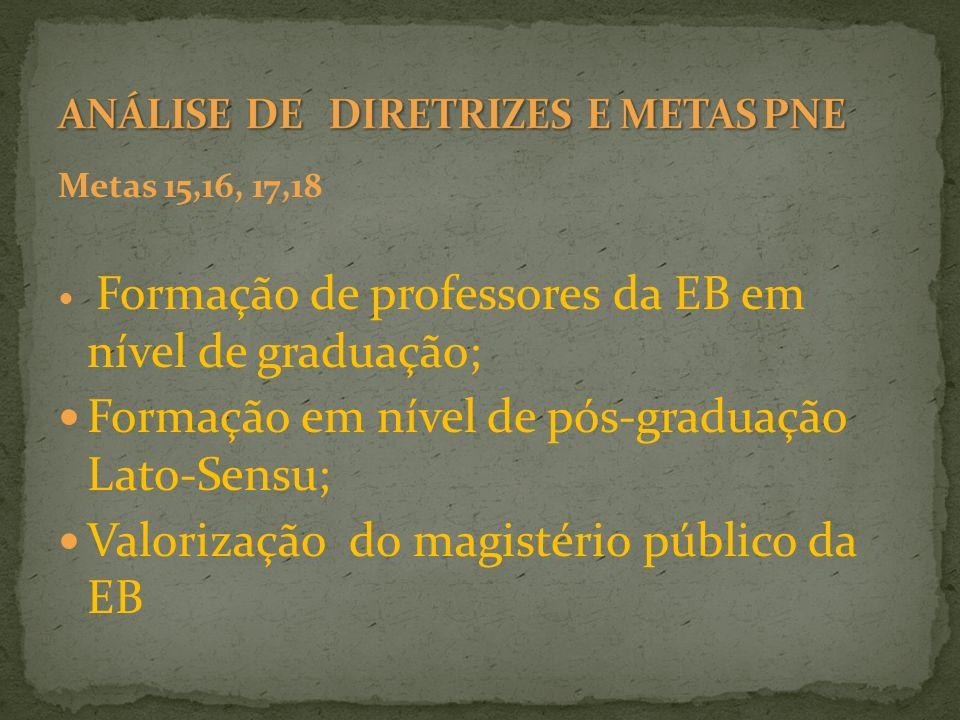 Metas 15,16, 17,18 Formação de professores da EB em nível de graduação; Formação em nível de pós-graduação Lato-Sensu; Valorização do magistério públi