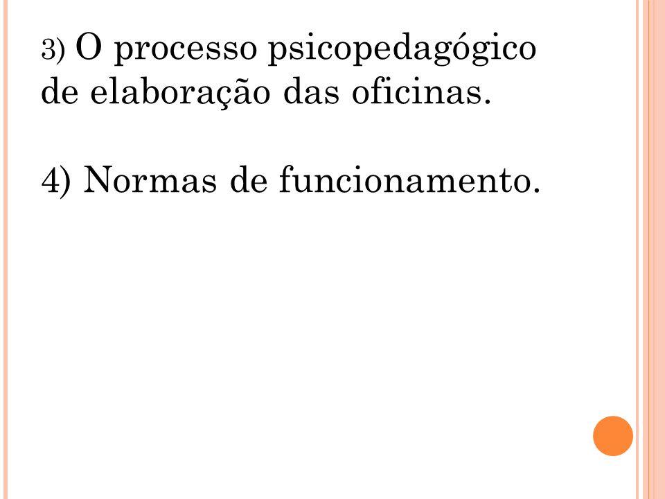3) O processo psicopedagógico de elaboração das oficinas. 4) Normas de funcionamento.
