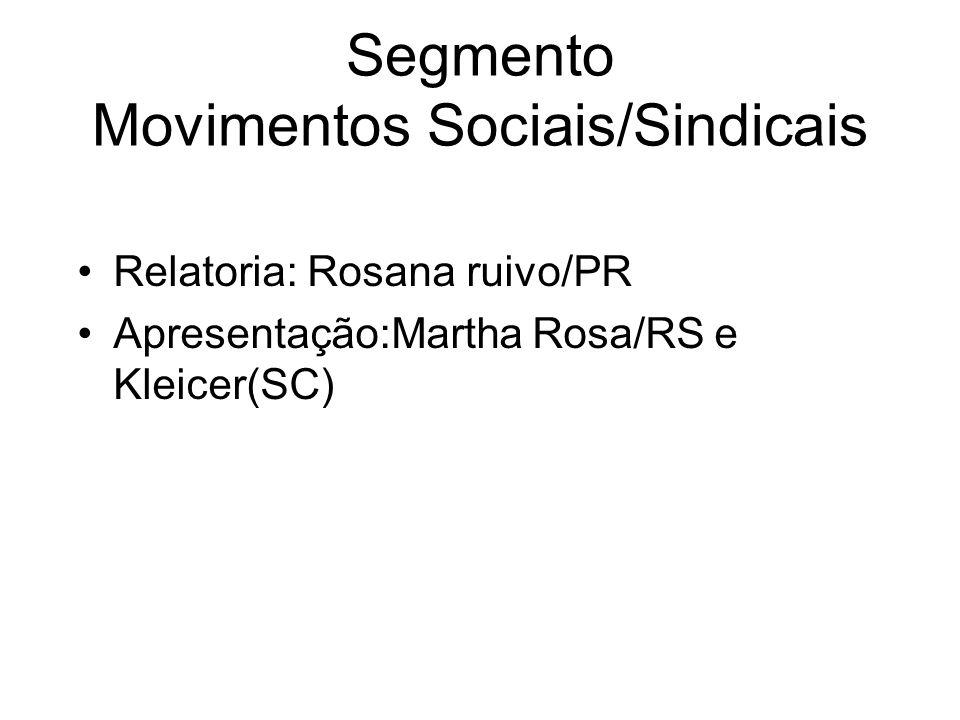 Segmento Movimentos Sociais/Sindicais Relatoria: Rosana ruivo/PR Apresentação:Martha Rosa/RS e Kleicer(SC)