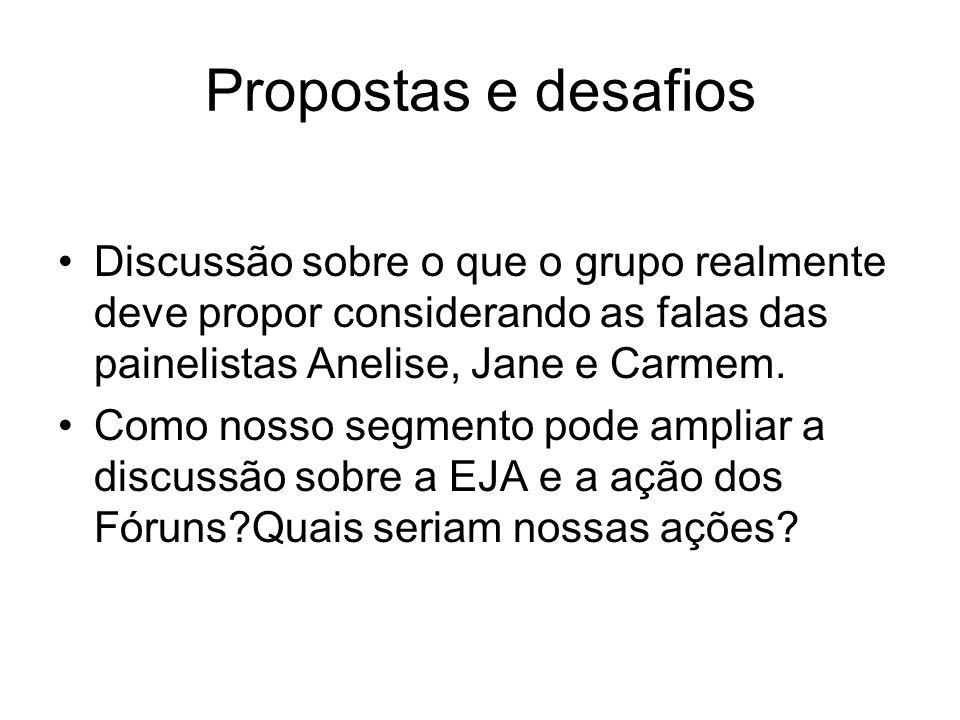 Propostas e desafios Discussão sobre o que o grupo realmente deve propor considerando as falas das painelistas Anelise, Jane e Carmem. Como nosso segm