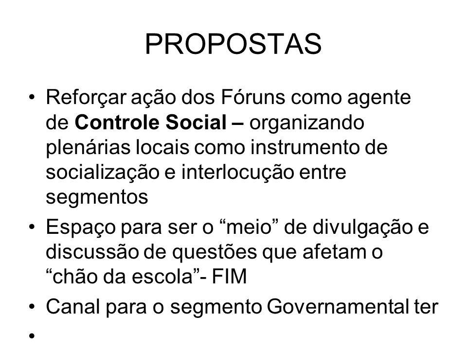 PROPOSTAS Reforçar ação dos Fóruns como agente de Controle Social – organizando plenárias locais como instrumento de socialização e interlocução entre