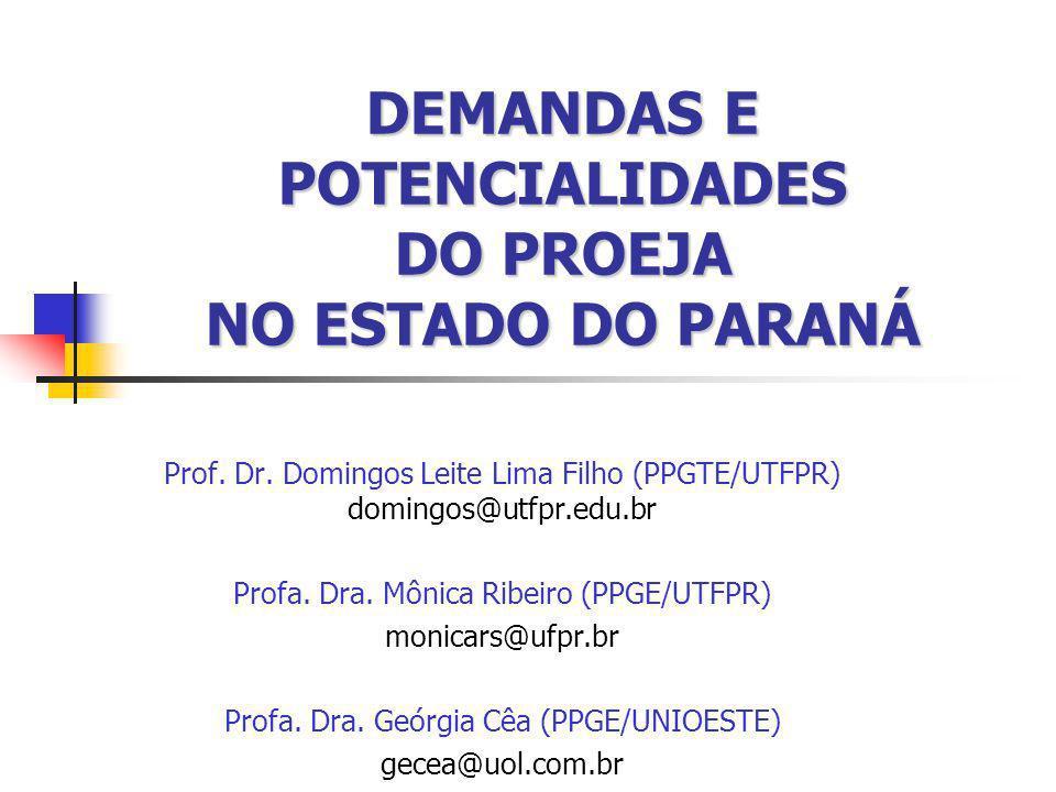 DEMANDAS E POTENCIALIDADES DO PROEJA NO ESTADO DO PARANÁ Prof. Dr. Domingos Leite Lima Filho (PPGTE/UTFPR) domingos@utfpr.edu.br Profa. Dra. Mônica Ri
