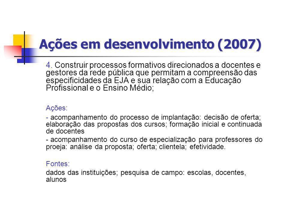 Ações em desenvolvimento (2007) 4. Construir processos formativos direcionados a docentes e gestores da rede pública que permitam a compreensão das es