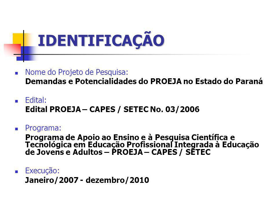 IDENTIFICAÇÃO Nome do Projeto de Pesquisa: Demandas e Potencialidades do PROEJA no Estado do Paraná Edital: Edital PROEJA – CAPES / SETEC No. 03/2006