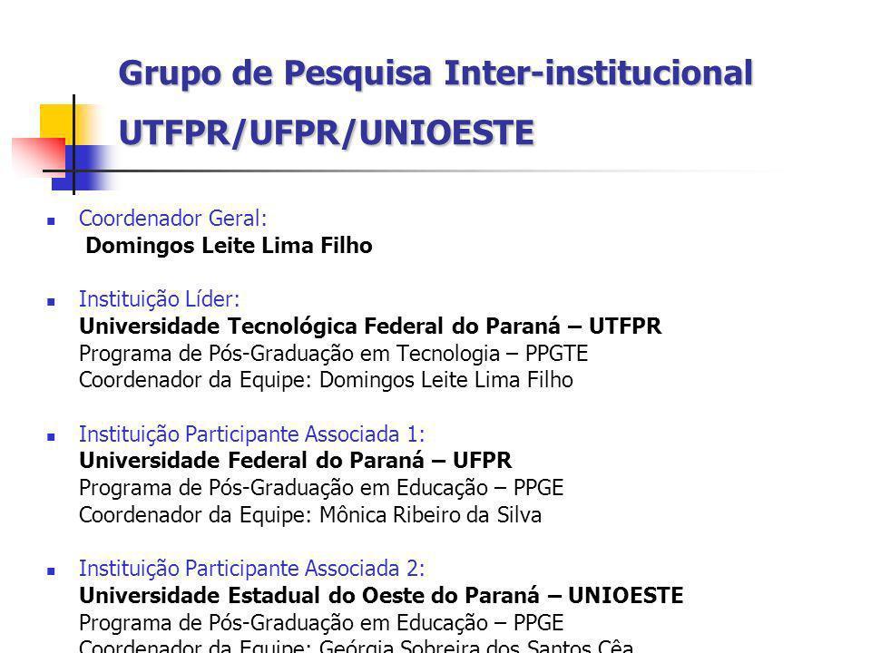 Grupo de Pesquisa Inter-institucional UTFPR/UFPR/UNIOESTE Coordenador Geral: Domingos Leite Lima Filho Instituição Líder: Universidade Tecnológica Fed