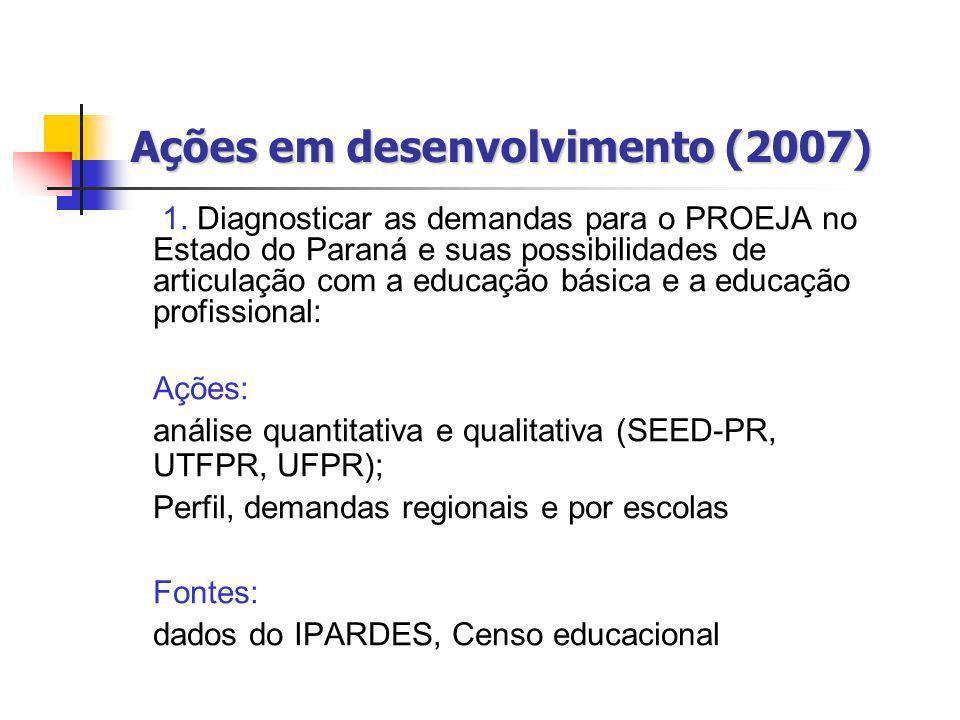 Ações em desenvolvimento (2007) 1. Diagnosticar as demandas para o PROEJA no Estado do Paraná e suas possibilidades de articulação com a educação bási