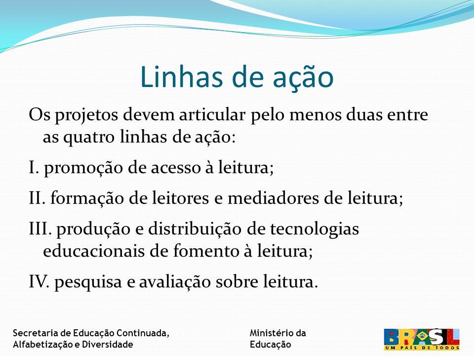 Linhas de ação Os projetos devem articular pelo menos duas entre as quatro linhas de ação: I.