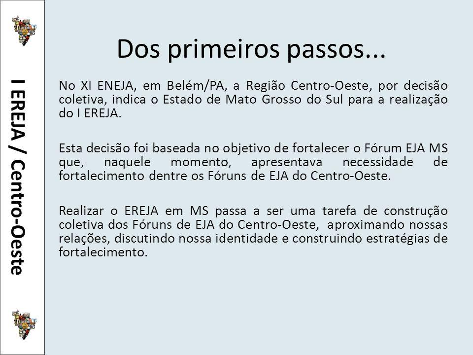 Dos primeiros passos... No XI ENEJA, em Belém/PA, a Região Centro-Oeste, por decisão coletiva, indica o Estado de Mato Grosso do Sul para a realização