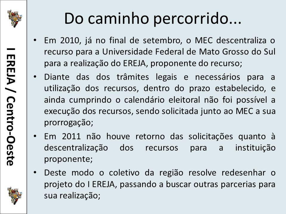 Do caminho percorrido... Em 2010, já no final de setembro, o MEC descentraliza o recurso para a Universidade Federal de Mato Grosso do Sul para a real