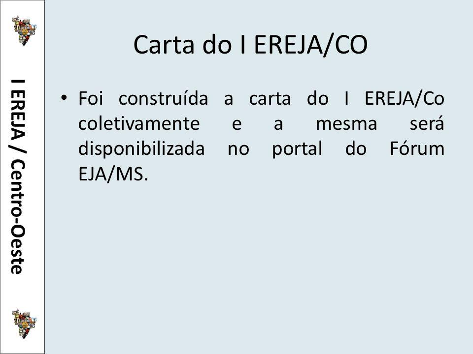 Carta do I EREJA/CO Foi construída a carta do I EREJA/Co coletivamente e a mesma será disponibilizada no portal do Fórum EJA/MS. I EREJA / Centro-Oest