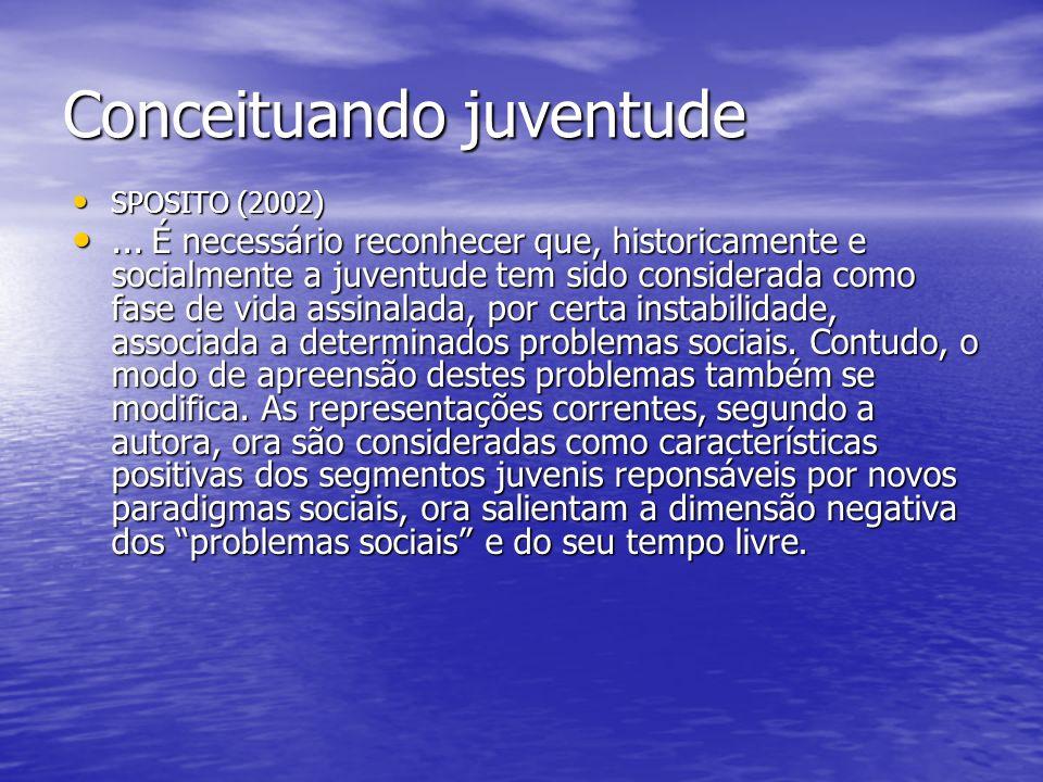 Conceituando juventude SPOSITO (2002) SPOSITO (2002)... É necessário reconhecer que, historicamente e socialmente a juventude tem sido considerada com