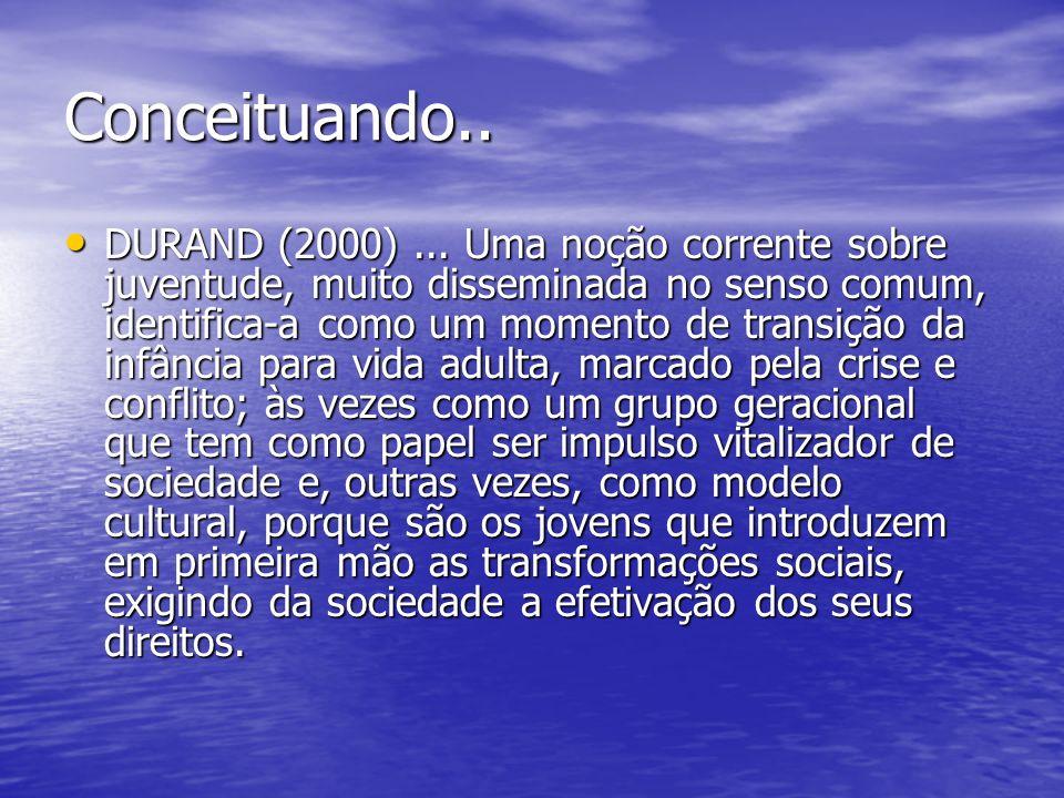 Conceituando.. DURAND (2000)... Uma noção corrente sobre juventude, muito disseminada no senso comum, identifica-a como um momento de transição da inf