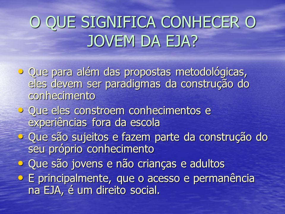 O QUE SIGNIFICA CONHECER O JOVEM DA EJA? Que para além das propostas metodológicas, eles devem ser paradigmas da construção do conhecimento Que para a