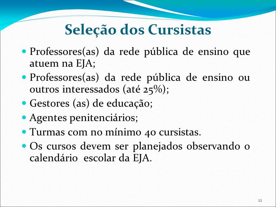 12 Seleção dos Cursistas Professores(as) da rede pública de ensino que atuem na EJA; Professores(as) da rede pública de ensino ou outros interessados (até 25%); Gestores (as) de educação; Agentes penitenciários; Turmas com no mínimo 40 cursistas.