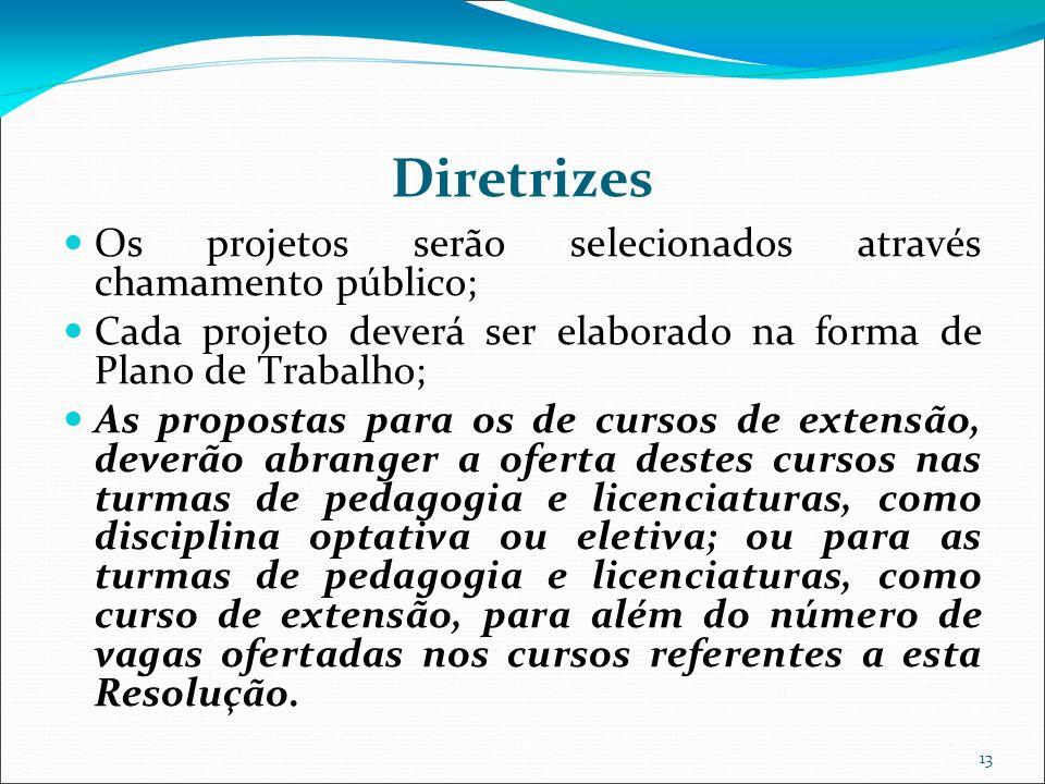 13 Diretrizes Os projetos serão selecionados através chamamento público; Cada projeto deverá ser elaborado na forma de Plano de Trabalho; As propostas
