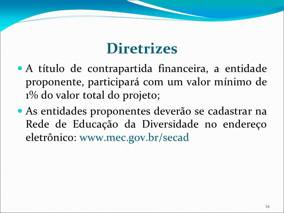 14 Diretrizes A título de contrapartida financeira, a entidade proponente, participará com um valor mínimo de 1% do valor total do projeto; As entidad