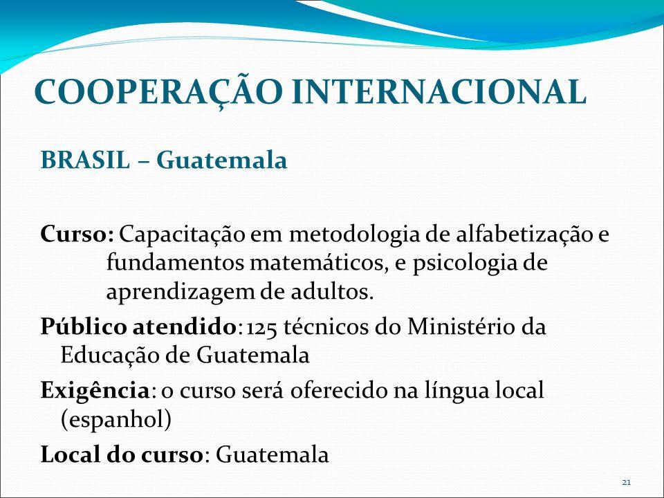 21 COOPERAÇÃO INTERNACIONAL BRASIL – Guatemala Curso: Capacitação em metodologia de alfabetização e fundamentos matemáticos, e psicologia de aprendizagem de adultos.