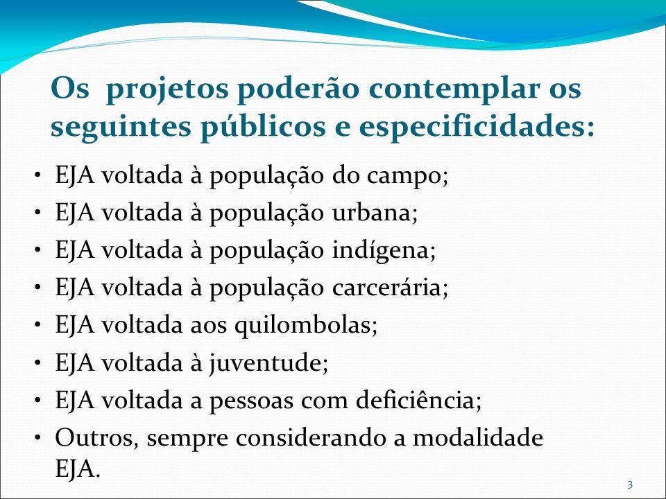 3 Os projetos poderão contemplar os seguintes públicos e especificidades: EJA voltada à população do campo; EJA voltada à população urbana; EJA voltad