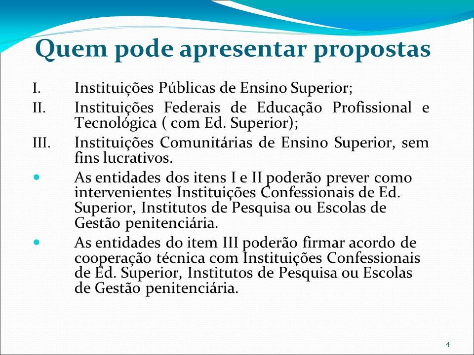 4 Quem pode apresentar propostas I. Instituições Públicas de Ensino Superior; II. Instituições Federais de Educação Profissional e Tecnológica ( com E