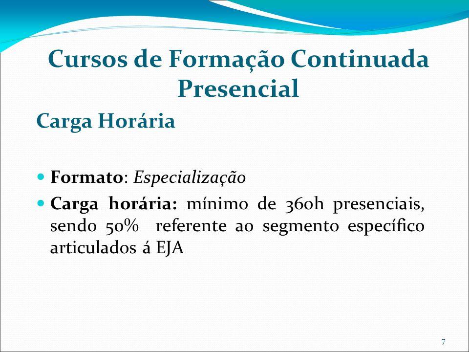 7 Cursos de Formação Continuada Presencial Carga Horária Formato: Especialização Carga horária: mínimo de 360h presenciais, sendo 50% referente ao segmento específico articulados á EJA