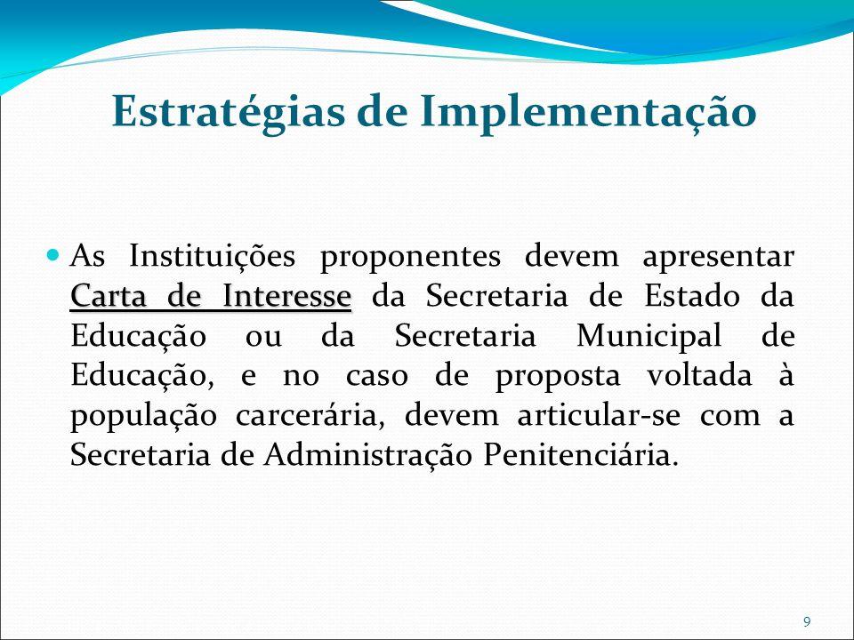 9 Estratégias de Implementação Carta de Interesse As Instituições proponentes devem apresentar Carta de Interesse da Secretaria de Estado da Educação ou da Secretaria Municipal de Educação, e no caso de proposta voltada à população carcerária, devem articular-se com a Secretaria de Administração Penitenciária.