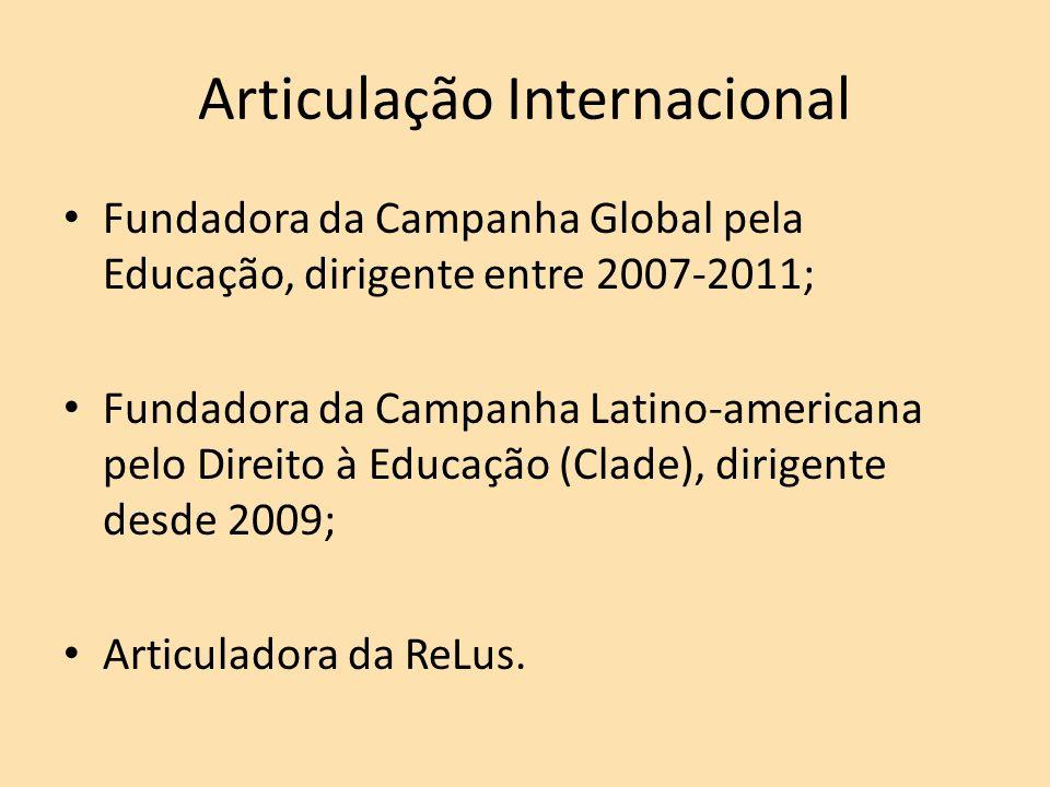 Articulação Internacional Fundadora da Campanha Global pela Educação, dirigente entre 2007-2011; Fundadora da Campanha Latino-americana pelo Direito à Educação (Clade), dirigente desde 2009; Articuladora da ReLus.