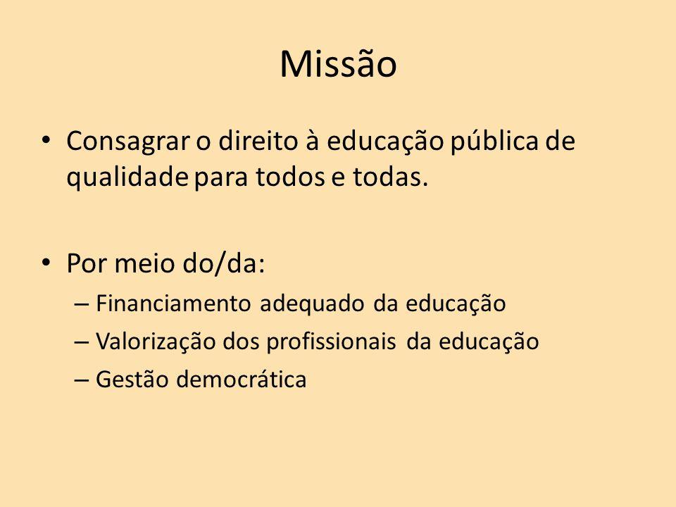 Missão Consagrar o direito à educação pública de qualidade para todos e todas.