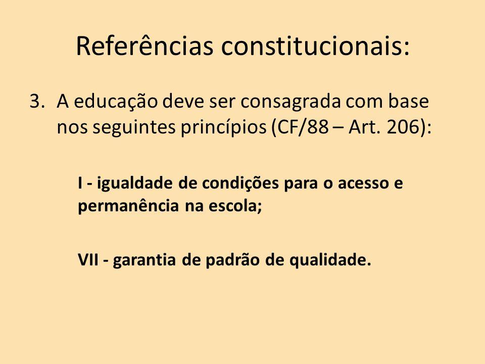 Referências constitucionais: 3.A educação deve ser consagrada com base nos seguintes princípios (CF/88 – Art.